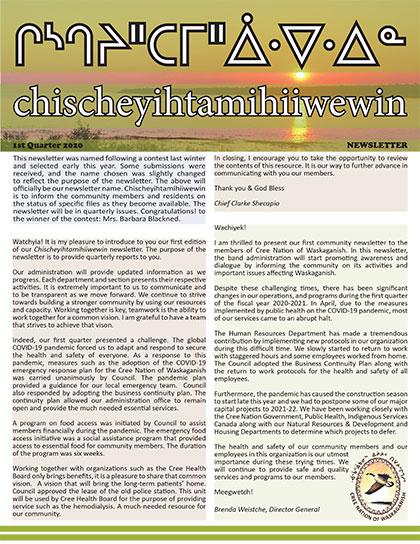 chischeyihtamihiiwewin-Newsletter-1st-quarter-2020