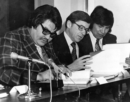Grand Chief Billy Diamond signs the James Bay and Northern Quebec Agreement, 1975